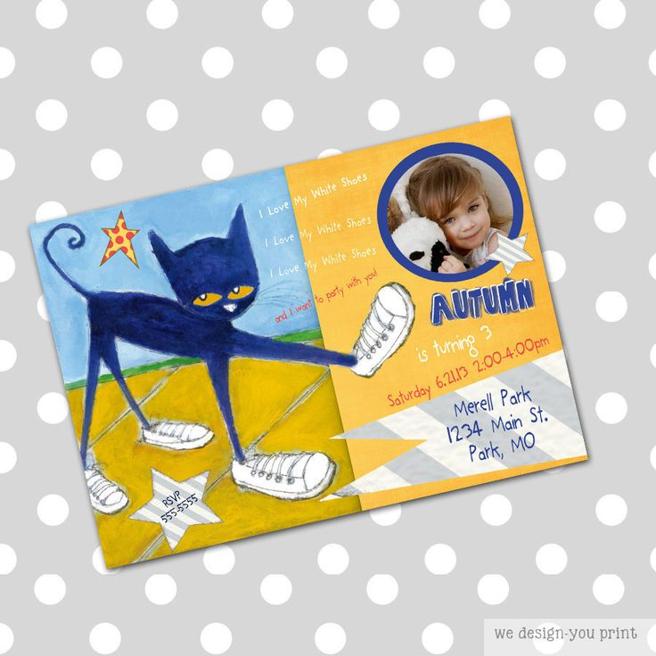 103 best images about Kids Pete the Cat Birthday Party – Cat Party Invitations