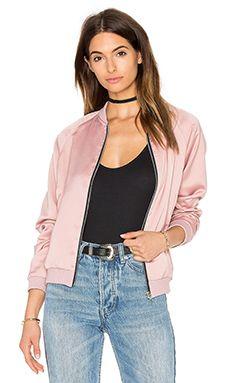 Motel Satin Bomber Jacket in Dusky Pink