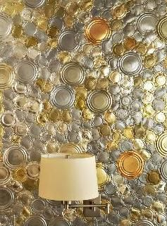 Upcycled Aluminum Can Lids to Gorgeous Wall Covering, Ceiling Covering or Table Covering!