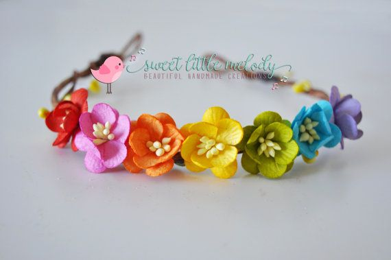 Rainbow Flower Crown Rainbow Flower Headband by SweetLittleMelody