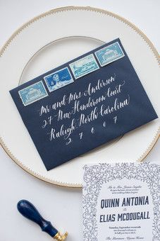 navy letterpress wedding suite, with double sided save the date