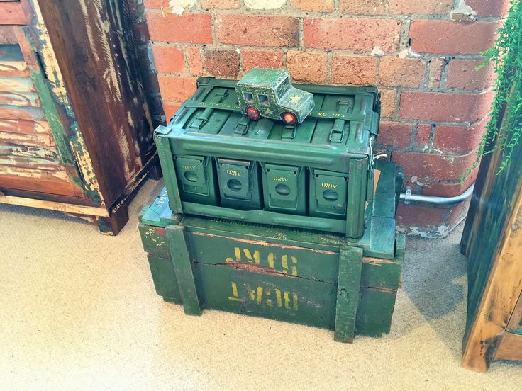 Vintage Military Boxes sourced in India. Part of our One of a Kind Range.