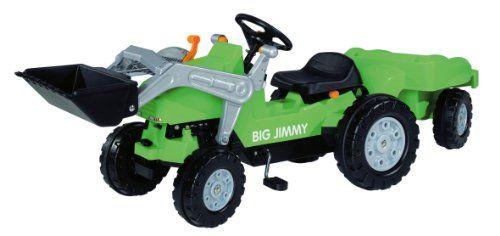 BIG 800056525 – Jimmy-Loader + Trailer Kindertraktor, grün