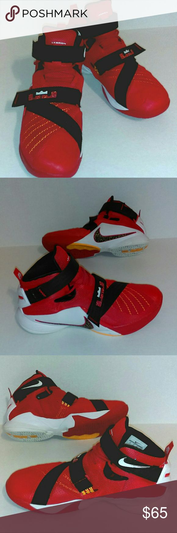 LeBron James by Nike Men's Size 12 Red/Black Well taken care of pair of LeBron James basketball high tops. They have been worn, and played in, but only indoors - they have never  seen concrete or asphalt!  Imagine my dismay when my daughter said she had grown out of a Men's 12 shoe!  They have a little wear on them, mostly  from conforming to her foot during play, but there are no scuffs  or marks, no rips or tears, except for a little wear on the Nike swoop on the inside ankle, highlighted…