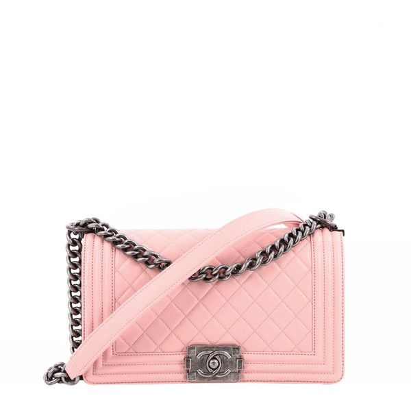 Pre-Owned Chanel Boy Flap Bag Quilted Calfskin Old Medium ($3,870) ❤ liked on Polyvore featuring bags, handbags, pink, pink purse, chain handle handbags, white quilted purse, white quilted handbag and chanel purse