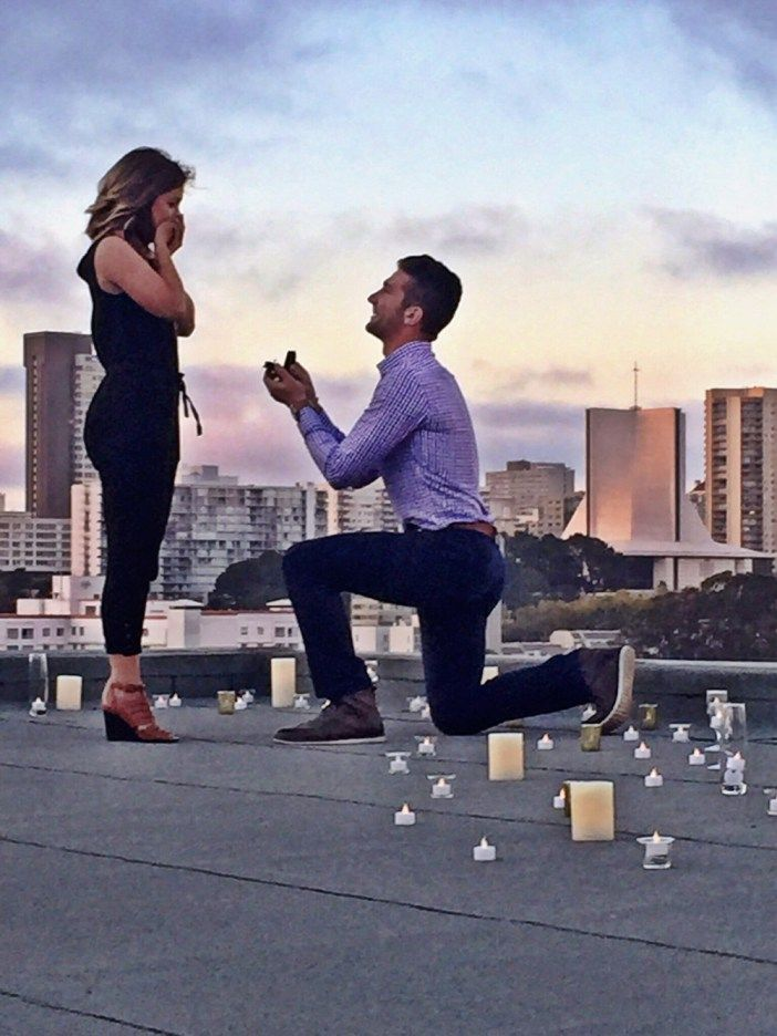 This is the perfect rooftop proposal, and he even had a surprise engagement party waiting!