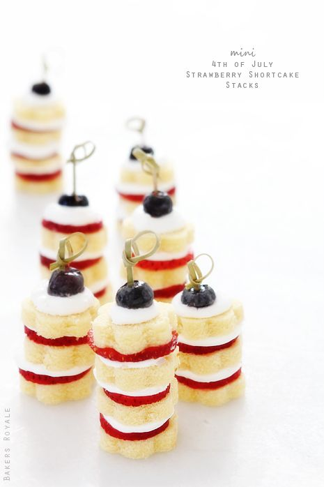 Mini Strawberry Shortcake stacks - super festive for 4th of July!