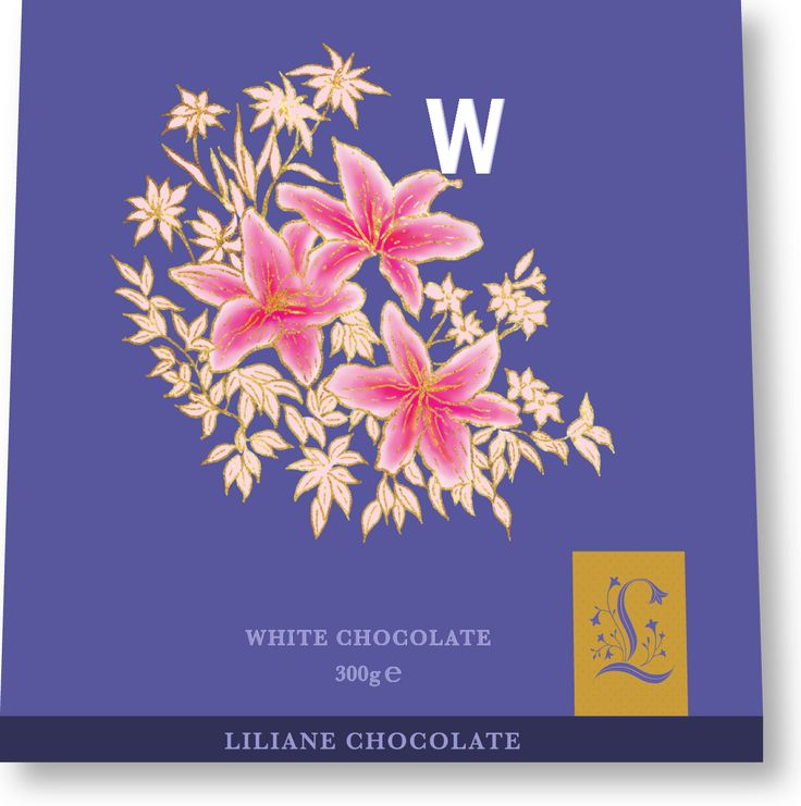 Lilliane White Chocolate Packaging, Lily Floral and Drop Cap Letter W