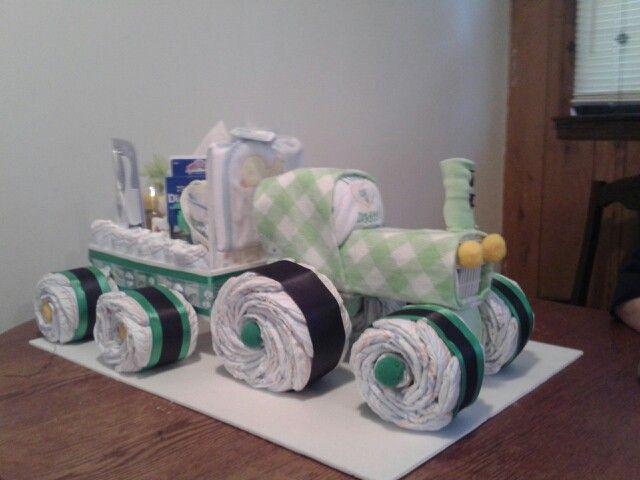 John Deere Diaper Tractor : Tractor wagon diaper cake pinterest