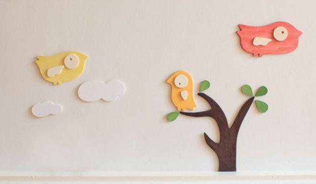 Wandtattoos - Holz-Wandtattoo Vögel Kinderzimmer 11teilig - ein Designerstück von lutki-kindermoebel bei DaWanda