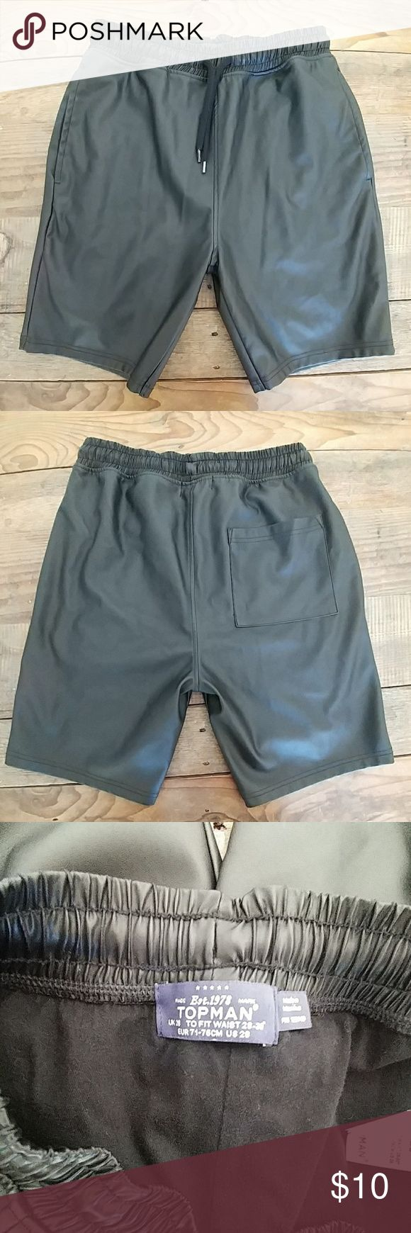 Topman shorts artificial leather size 28 Men's Topman shorts artificial leather size 28. Great used condition. No stains or holes. Topman Shorts