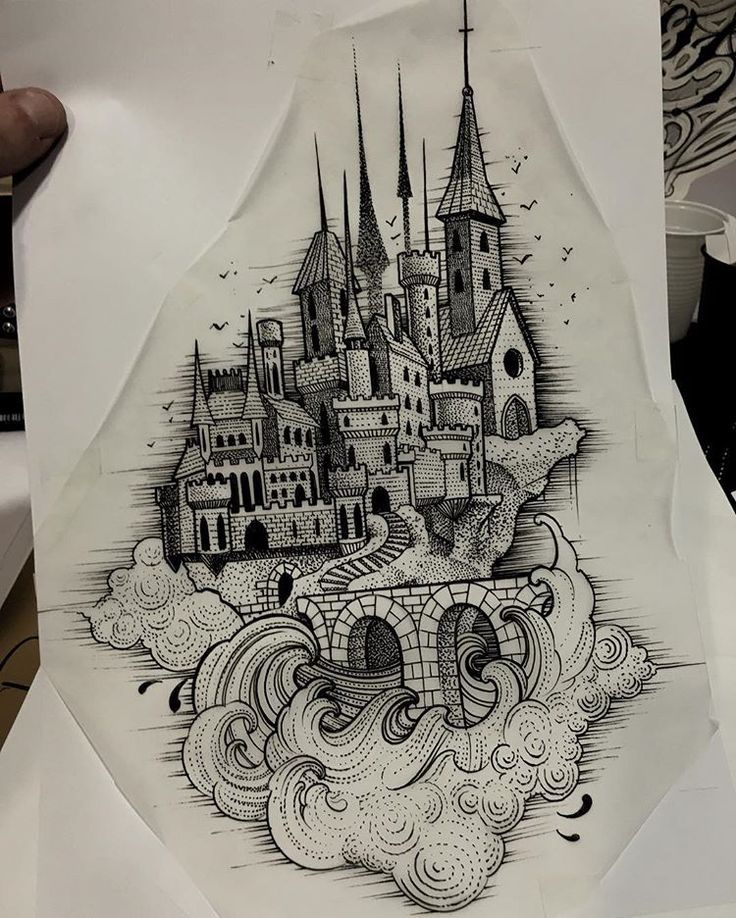 Projet client ! For a tattoo! So exited ! #medievalcastle #sketching #tattooflash #onlyblackart #blackart #drawing #draw #castle #tattoo #inked #blackworkers #blackwork #dotwork #dotworkers