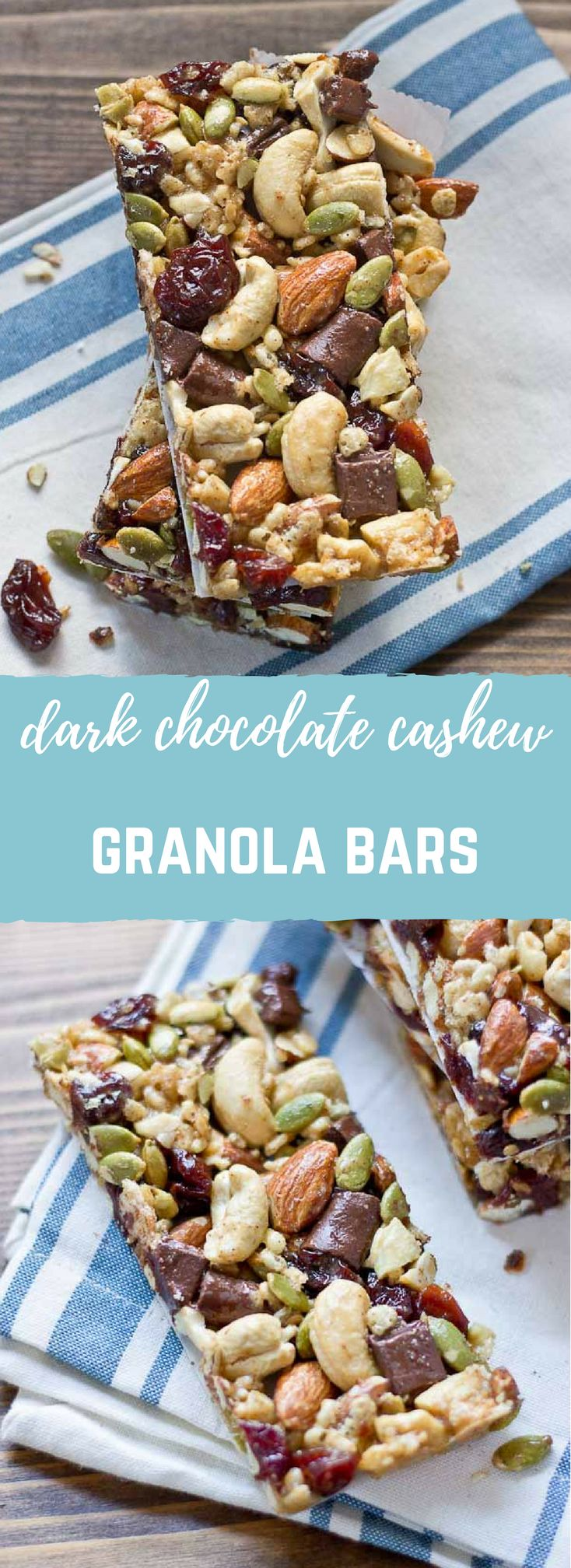 Tart Cherry, Dark Chocolate & Cashew Granola Bars. These snack bars are sweet, tart, salty, crunchy, healthy, yummy, and easy to make… what else can you ask for in a snack!? Gluten free and vegan.