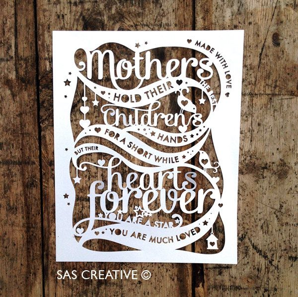 Papercut Template PDF 'Mothers hold their childrens hands' Mother's Day Cut Your Own Papercut by Samantha's Papercuts by SASCreative on Etsy https://www.etsy.com/listing/203160090/papercut-template-pdf-mothers-hold-their