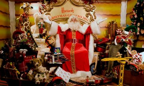 Father Christmas in the grotto at Harrods, something one must sign up for months in advance, if not you end up at Hyde Park's Winter Wonderland for Santa Claus pictures.