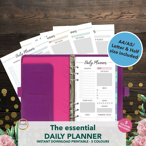 Printable Daily Planner  Daily Planner 2017 Inserts  Planner