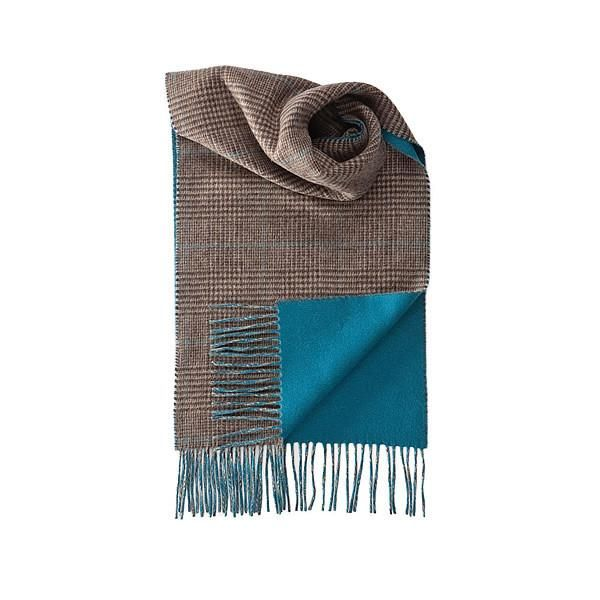 Cashmere Scarf, double-sided in Turquise