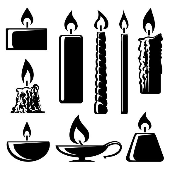 Silhouette Burning Candles Candle Illustration Candle Silhouette Burning Candle
