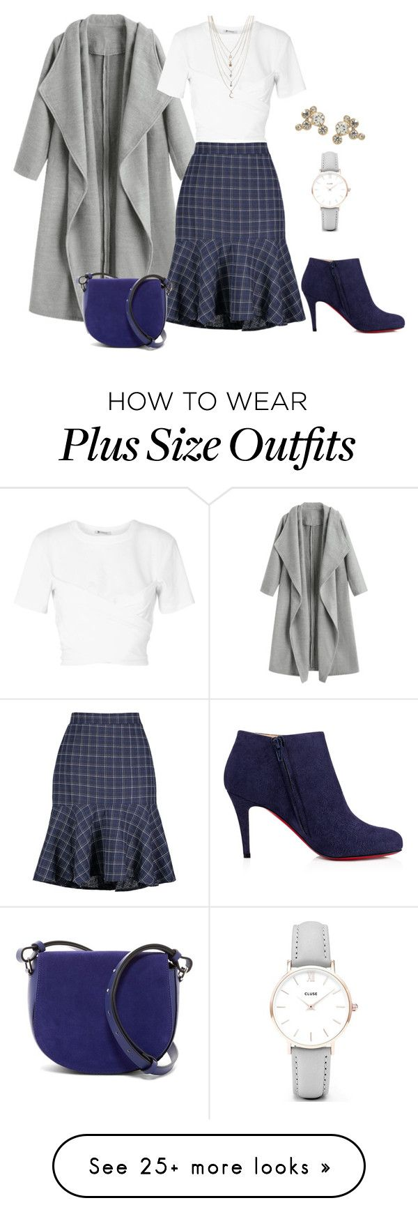 """""""Untitled #2473"""" by barbaratweten on Polyvore featuring T By Alexander Wang, Christian Louboutin, French Connection, Ettika, CLUSE, WorkWear, plussizeskirt and BlueAndGrey"""