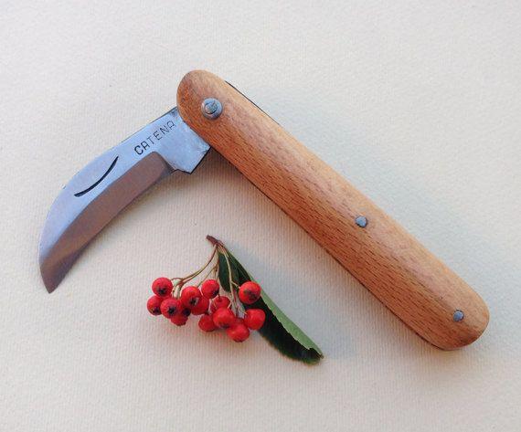 vintage pocket Knife / Vintage Italian Handmade folding Knife / signed Rustic pruning tool Gardening knives / grafting knife for collectors by Skomoroki