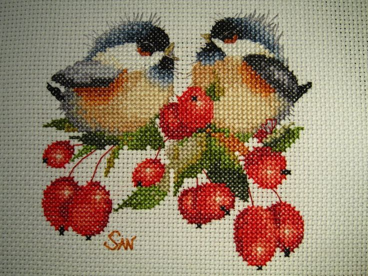 Berry Chick Chat cross-stitch by Santian69.deviantart.com on @deviantART