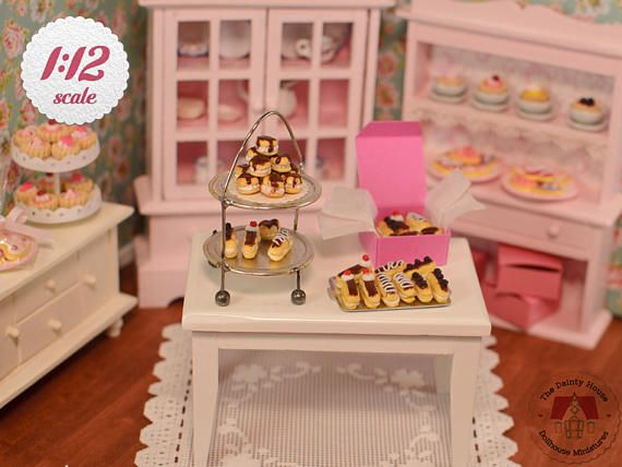 Miniature Cream Puffs & Eclairs Box  Chocolate 1/12 Scale