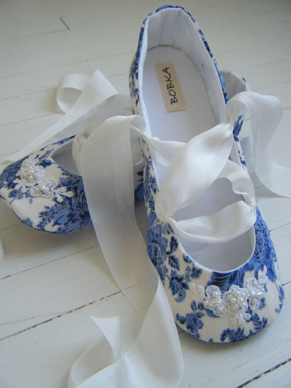 Delft Ballet Shoes Baby Girl Shoes Toddler Flats by BobkaBaby, $48.00