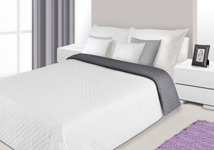 Dwustronna biało stalowa narzuta na łóżko