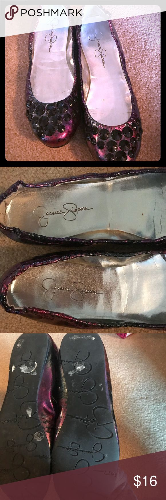 Jessica Simpson Flats—gently loved! Purple, pink & gunmetal all in a great shiny patent look with gunmetal grommets! Jessica Simpson Shoes Flats & Loafers