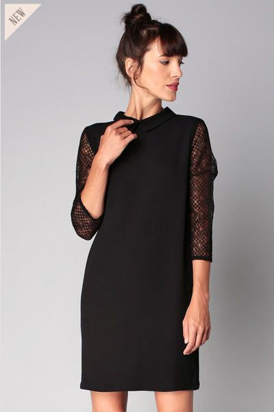 Robe noire manches dentelle Vicky Sessun prix promo Robe Sessun Monshowroom 155.00 €