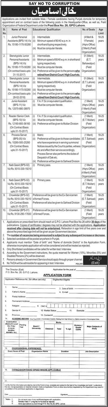 Field Organization of Federal Department Government jobs Vacancies http://ift.tt/2iXRGUr   Last Date:  30 Sept 2017  Location:  Punjab  Posted on:  04 Sept 2017  Category:  Government   Organization:  Field Organization of Federal   Department   Website/Email:  N/A  No. of Vacancies  20 Aprrox  Education required:  Intermediate MatricPrimary  How to Apply:  Mentioned in Newspaper ad  Vacant Positions:  Junior Personal Assistant (BPS-14)  Steno typist / Junior Personal Assistant (BPS-14)…