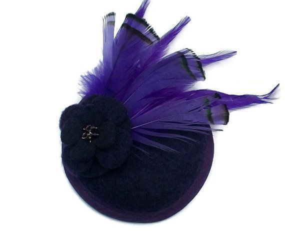 Purple Cocktail Hat Purple Fascinator Hat with Purple feather and flower detailed hair accessory