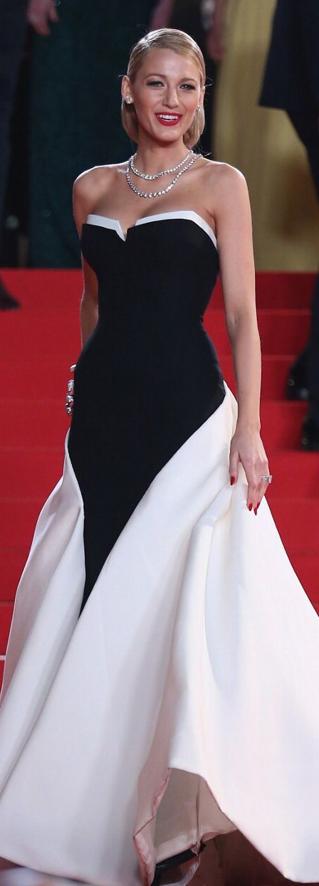 Blake Lively in a Gucci black and white silk crepe gown