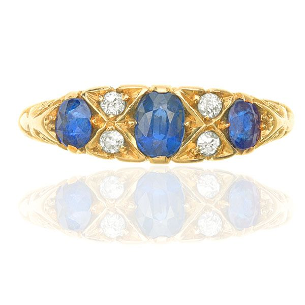 Lovely Antique Deep Blue Sapphire & Diamond Ring