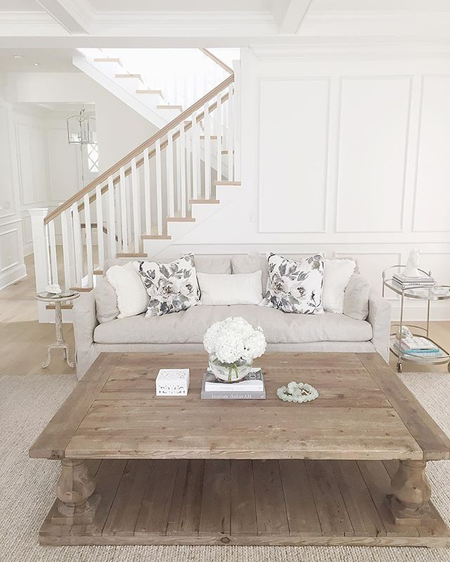 Hamptons style  Restoration hardware coffee table  Neutral decor  Benjamin Moore simply white  Wide plank hardwood floors