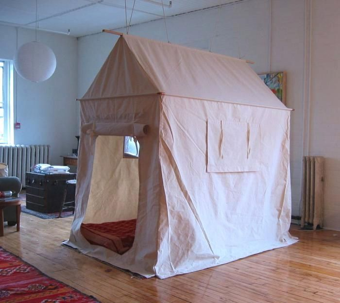 An Instant Guest Bedroom—Made from Canvas: Guest Bedrooms Mad, Kids Bedrooms, Living Rooms, For Kids, L'Wren Scott, Plays Tent, Indoor Tent, Instant Guest, Guest Rooms