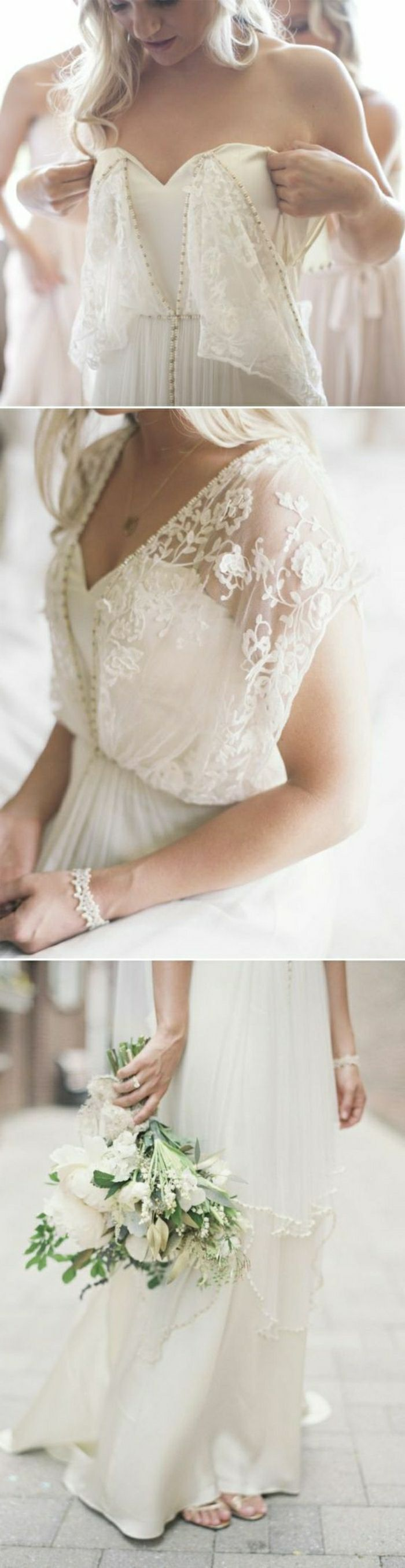 three close ups of a wedding dress with lace details, worn by a blonde young bride, with a white bracelet, holding a bouquet of white flowers