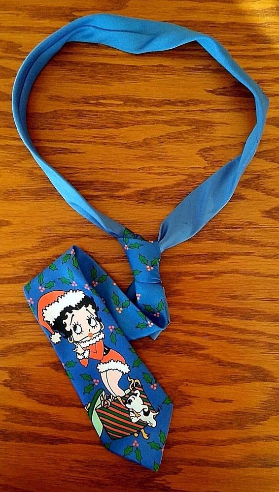 Vintage Betty Boop Pudgy Dog Christmas Necktie Ralph Marlin Novelty Tie Santa