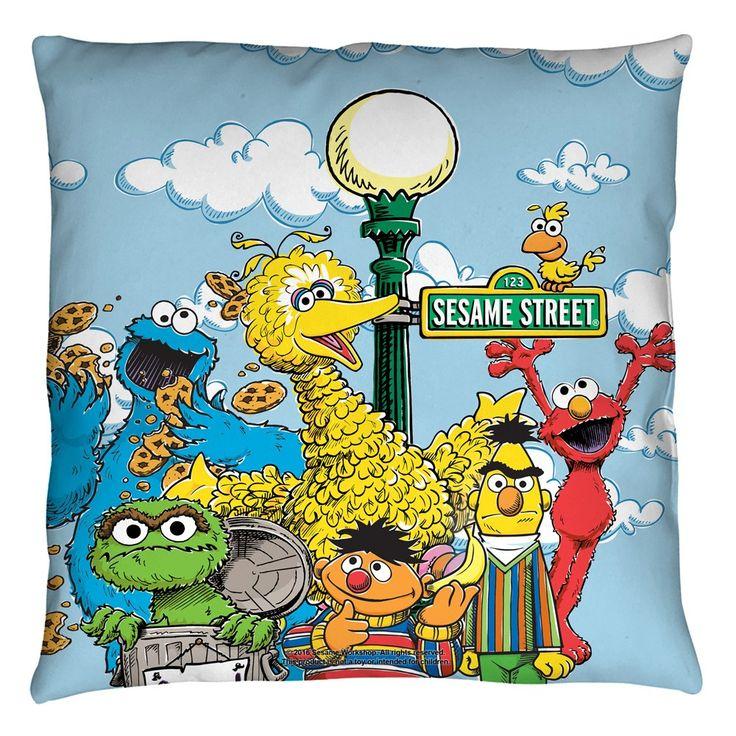 Sesame Street Retro Logo Throw Pillow 16x16 Sesame Street