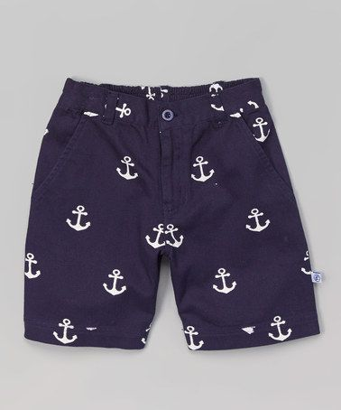 Navy Anchor Shorts - Infant, Toddler & Boys #zulily #zulilyfinds