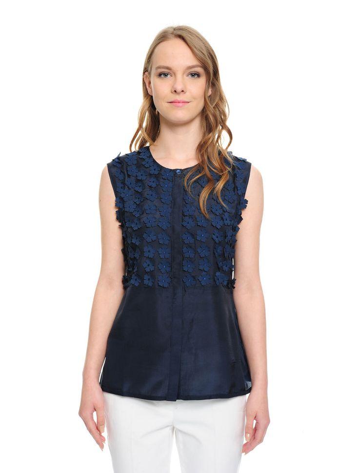 Camicia con applicazioni floreali, blu navy - XADDOTTO Diffusione Tessile