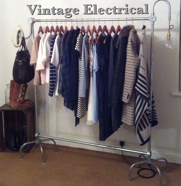INDUSTRIAL VINTAGE CLOTHES RAIL WARDROBE RETRO LAMP LIGHT HANDMADE SHABBY CHIC