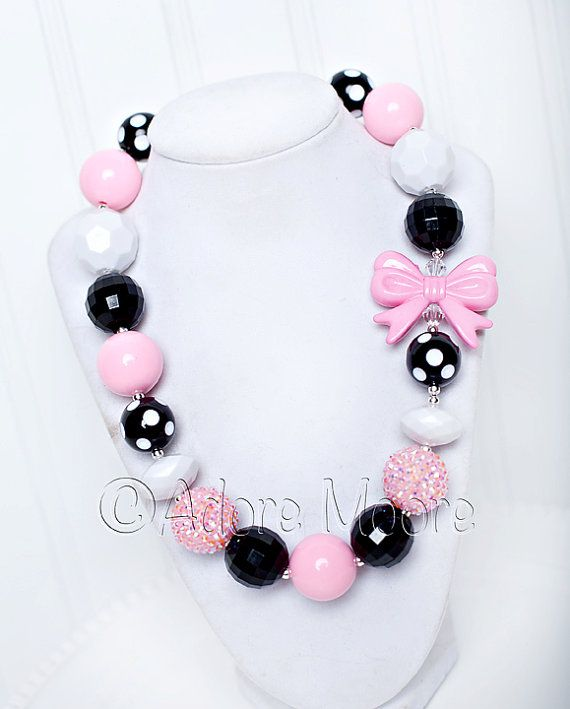 Its All About Pink,  Chunky Bead Necklace, Chunky Necklace, Chunky Bead Necklace, Child Girls Necklace on Etsy, $21.00