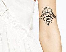 Tatouage oeil Boho motif tatouage temporaire Tattoo poignet cheville corps autocollant faux tatouage