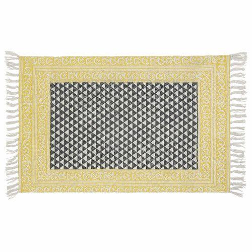 Wit/zwart katoenen tapijt 60 x 90 cm MEDAN