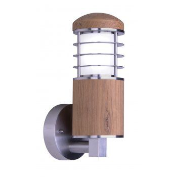 Elstead Lighting Premier Collection Poole Outdoor Wall Light in Stainless Steel and Teak