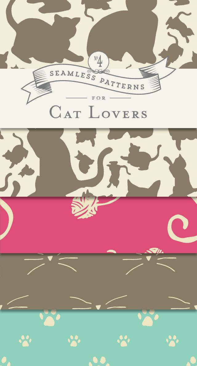 4 FREE Patterns for Cat Lovers - Designs By Miss Mandee. These purrfectly playful designs make great backgrounds, gallery prints, web patterns, or even wrapping paper.