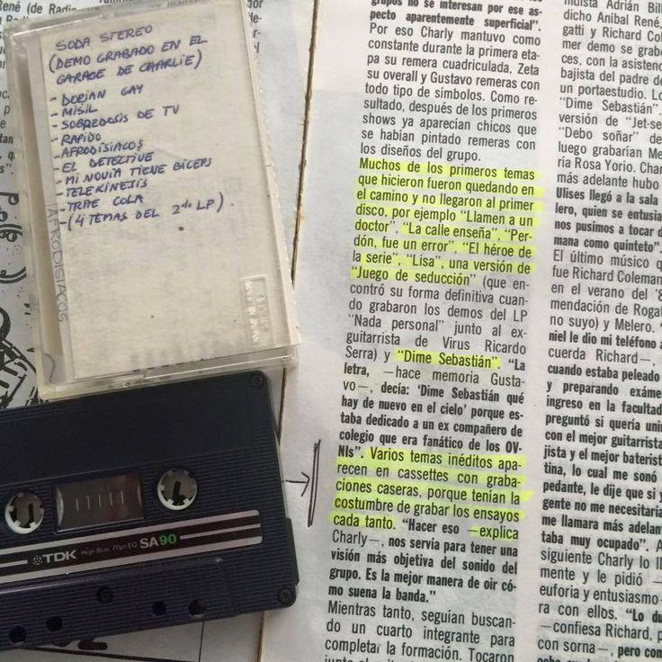 Foto de un registro único. Se trata de uno de los 4 cassettes que existen actualmente con los demos que Soda Stereo grababa en el garage de la casa de Charly Alberti antes de su primer disco. El propietario es Charly Amato, quien integrara el grupo The Morgan, por el que pasaron Zeta Bosio y Gustavo Cerati antes de formar Soda Stereo. El propio Gustavo se lo regaló.