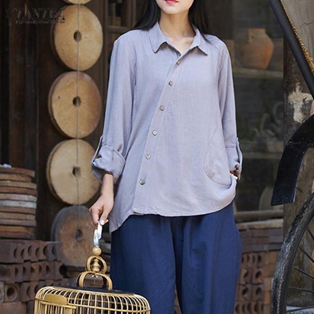 d0f40f872aded1 ZANZEA 2019 Fashion Women Long Sleeve Blouse Blusas Buttons Down Lapel Neck  Black Shirt Autumn Cotton Linen Basic Tops Plus Size-JetSet-JetSet