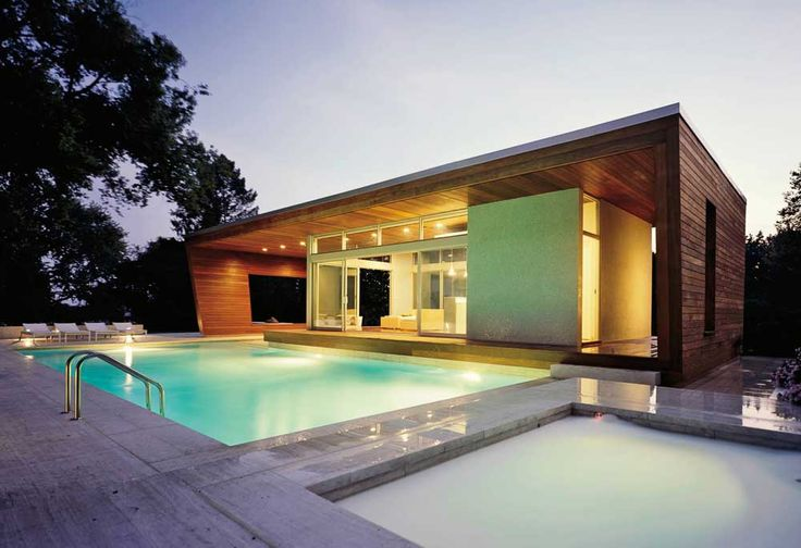 Pool and Pool House Designs with big windows
